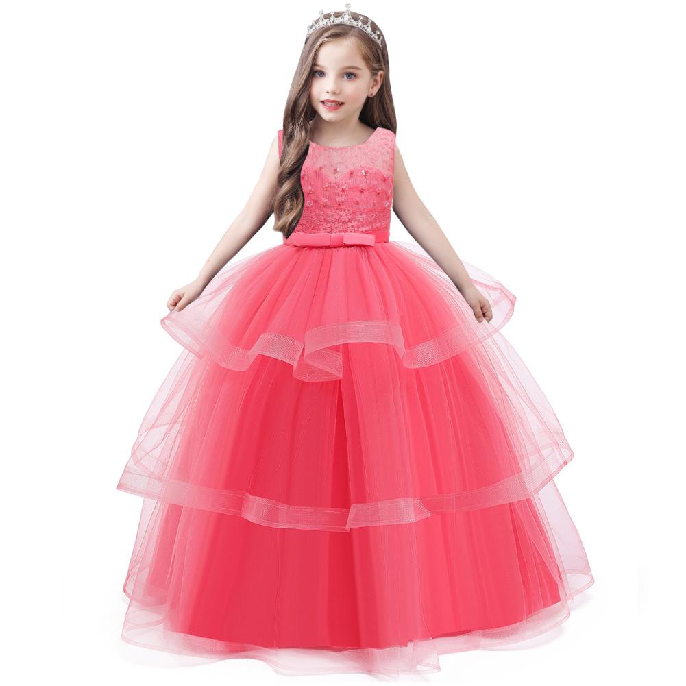 BAIHUI Trang phục dạ hôi trẻ em Quần áo trẻ em Váy công chúa catwalk, váy trẻ em lớn, váy ren dài ch