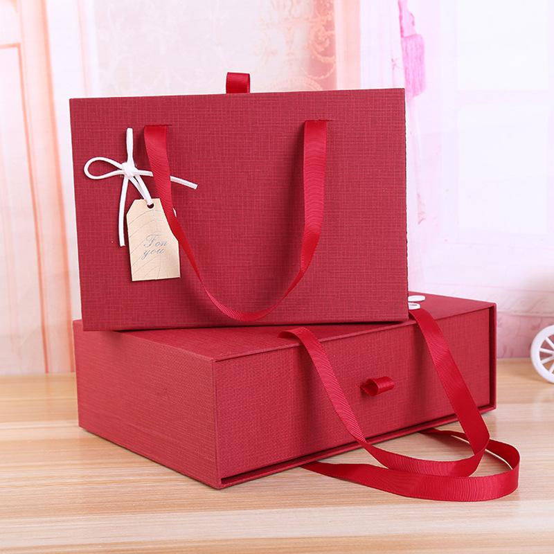 PENGDA NLSX bao bì Hộp quà tặng handmade bao bì ngăn kéo sáng tạo hộp lớn màu đỏ di động cao cấp lễ