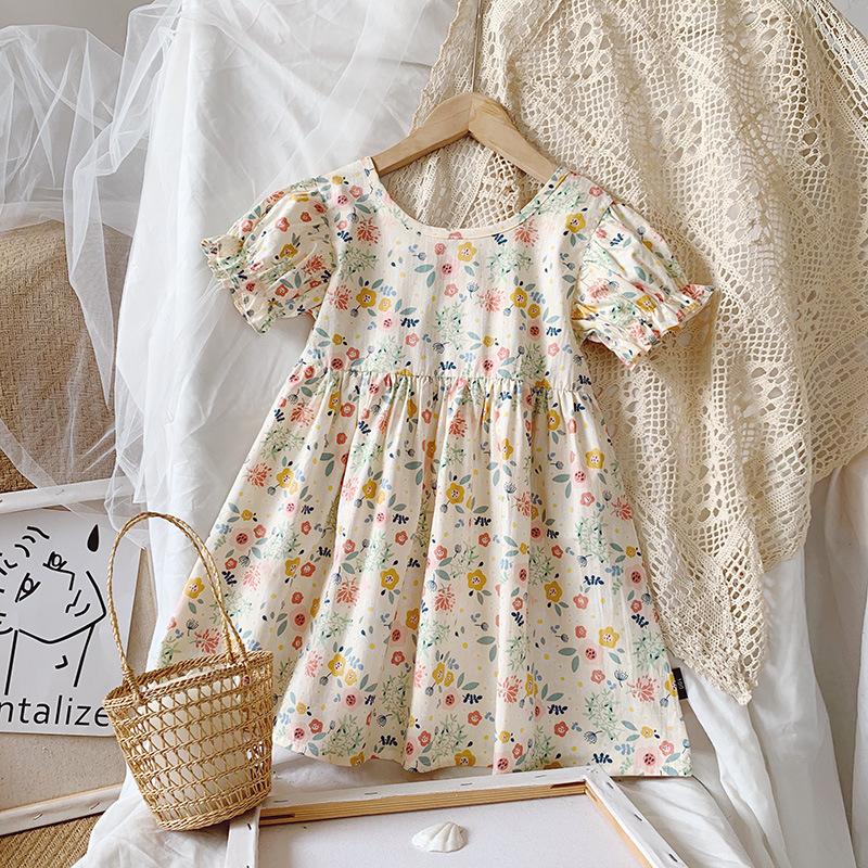 MENGDANGDANG Phong cách Hàn Quốc Váy bé gái 2020 mùa hè mới tinh khiết cotton Hàn Quốc quần áo trẻ e