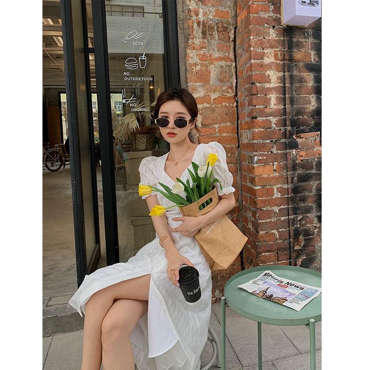 YIMENGJIA Đầm Dahuayuan dhy Pháp retro chia eo eo trái tim mùa hè trắng tay áo đính hôn váy váy trẻ