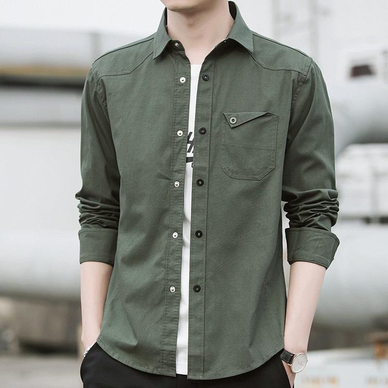 DINGBING tay dài Áo sơ mi nam 2018 mùa thu mới phiên bản Hàn Quốc của áo sơ mi mỏng giản dị dành cho