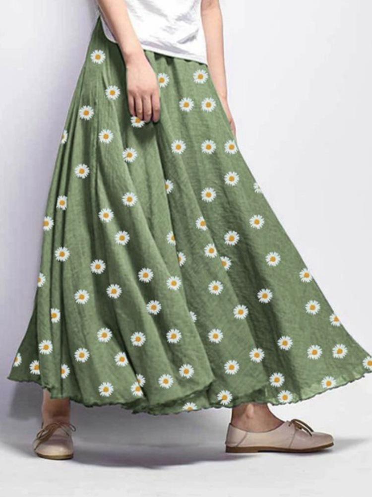váy 2020 mùa hè bùng nổ mô hình giản dị lỏng nhỏ hoa cúc váy dài váy nữ điểm