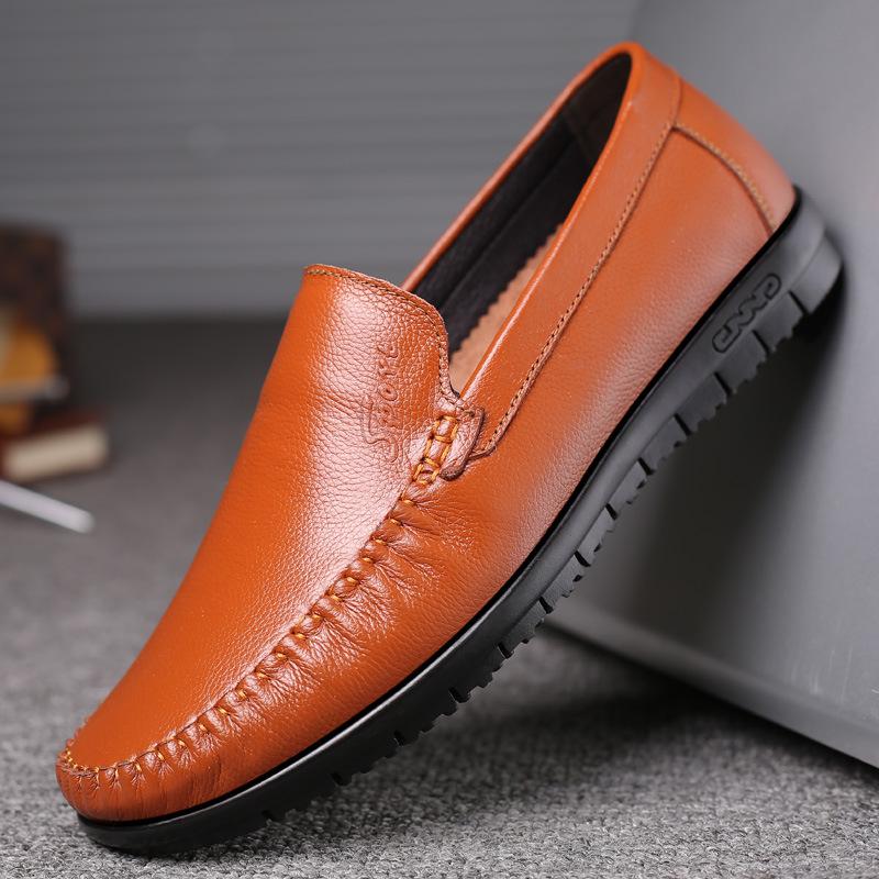 QIANGZU Giày mọi Gommino Giày da nam mới, bàn đạp, giày đậu, đế cao su mềm, bề mặt mềm, giày đế bằng