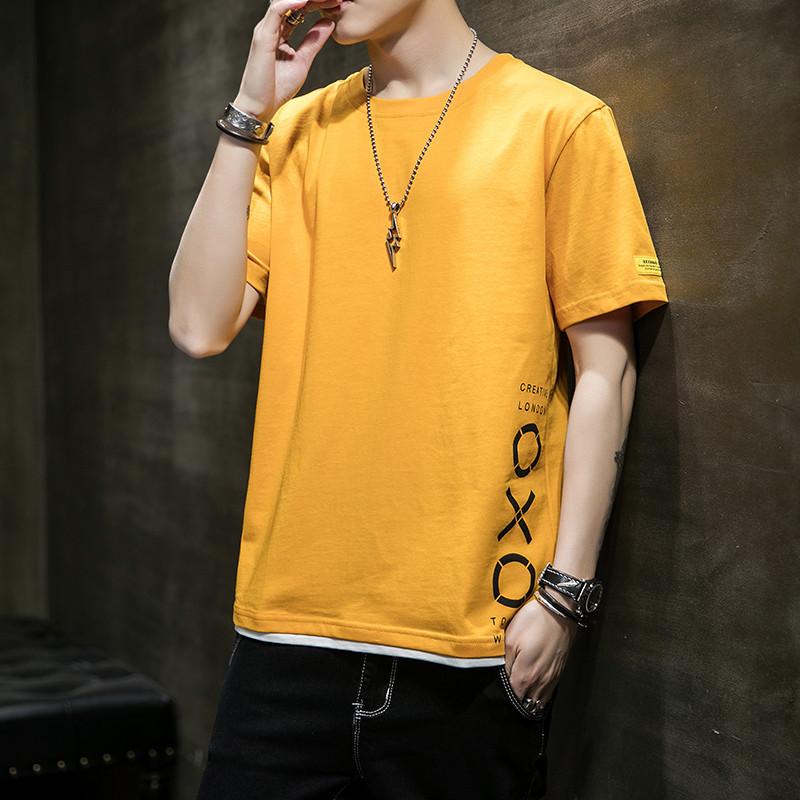 MISHUYA Áo thun cotton mùa hè 2020 phiên bản Hàn Quốc của nam thanh niên giản dị áo sơ mi nửa tay Áo