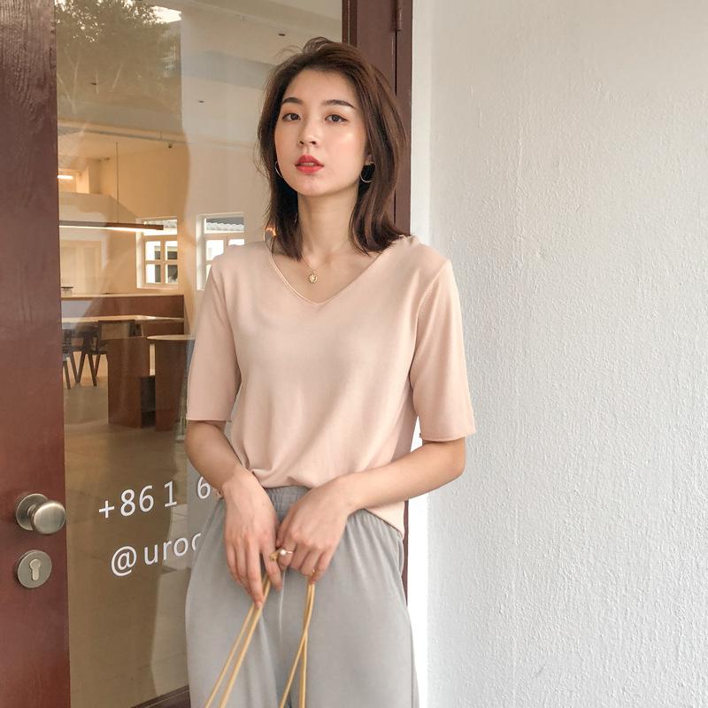 APXIVI áo thun [Song Ming] Áo thun cổ chữ V 6 màu nữ Hàn Quốc mùa hè 2020 mới áo sơ mi ngắn tay hoan