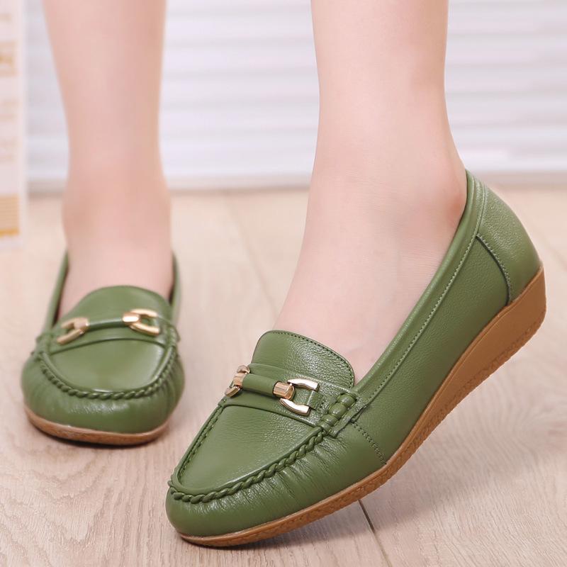 MLSJ Giày mọi Gommino Giày mẹ mùa hè Da 40 tuổi Giày nữ trung niên và người cao tuổi thường có gân b