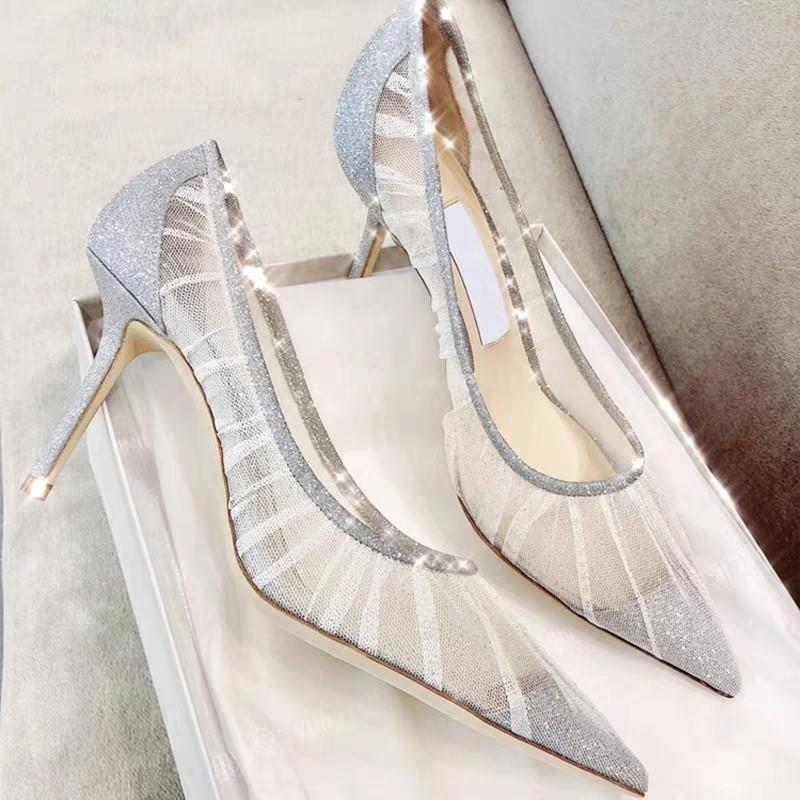 AINER-CAT Thị trường giày nữ 83301 Giày cao gót màu đỏ lưới 2020 mùa xuân và mùa thu mới ren lưới re