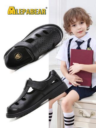 Giày da Trẻ em Đen Anh 2020 Mùa hè Mới Học sinh thoáng khí Mềm mại Hiệu suất duy nhất Giày da nam Gi