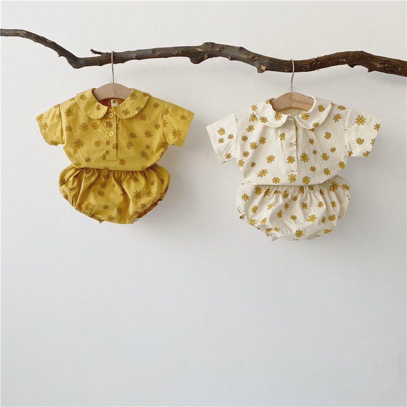 Q2-baby Đồ Suits trẻ em Mùa hè 2020 trẻ em nam và nữ bé cúc nhỏ dễ thương hoa nhỏ phù hợp với nước n
