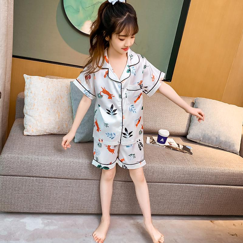 NHRX Đồ ngủ trẻ em mùa hè 2020 quần áo điều hòa trẻ em Bộ đồ ngủ bằng lụa băng
