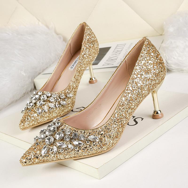 NO.55 Shoes Thị trường giày nữ 9333-10 Thời trang Hàn Quốc nhọn miệng cao gót hộp đêm là đôi giày se
