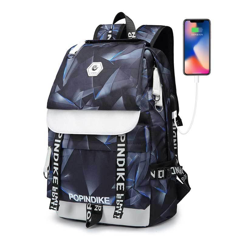 BPDK Cặp học sinh Hot logo tùy chỉnh vải ba lô nam usb máy tính ba lô du lịch ngoài trời túi phong c