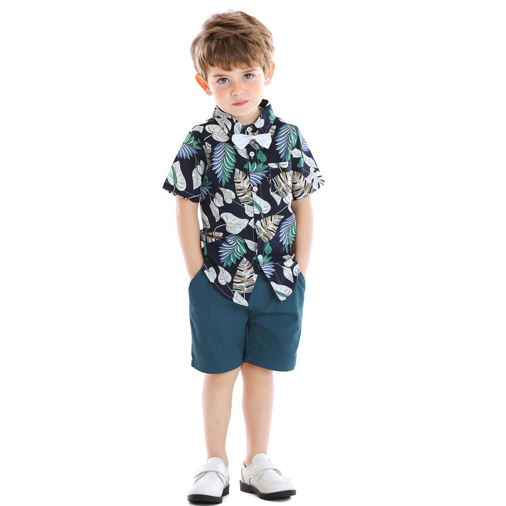 Top and Top Âu Mỹ Quần áo trẻ em châu Âu và Mỹ bùng nổ mô hình ve áo bé trai in lá áo sơ mi ngắn tay