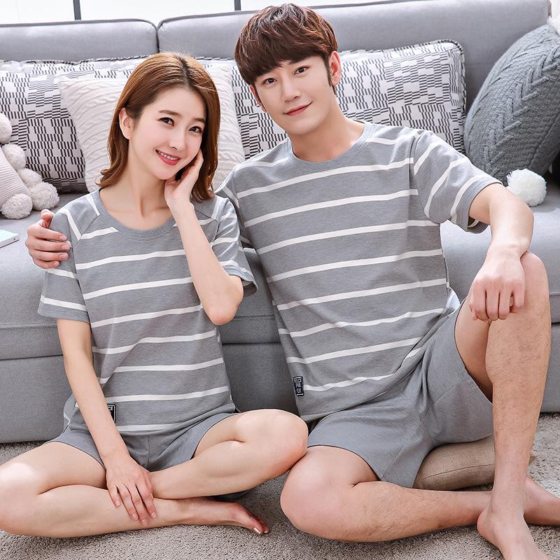 Đồ ngủ 2020 đồ ngủ đôi mùa hè cotton tay ngắn phần mỏng kích thước lớn lỏng lẻo của phụ nữ hai mảnh