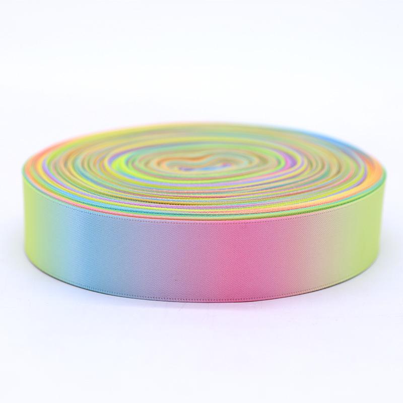 JIHONG đai dệt Rainbow polyester in băng in đầy màu sắc bao bì màu gradient băng truyền nhiệt chủ đề
