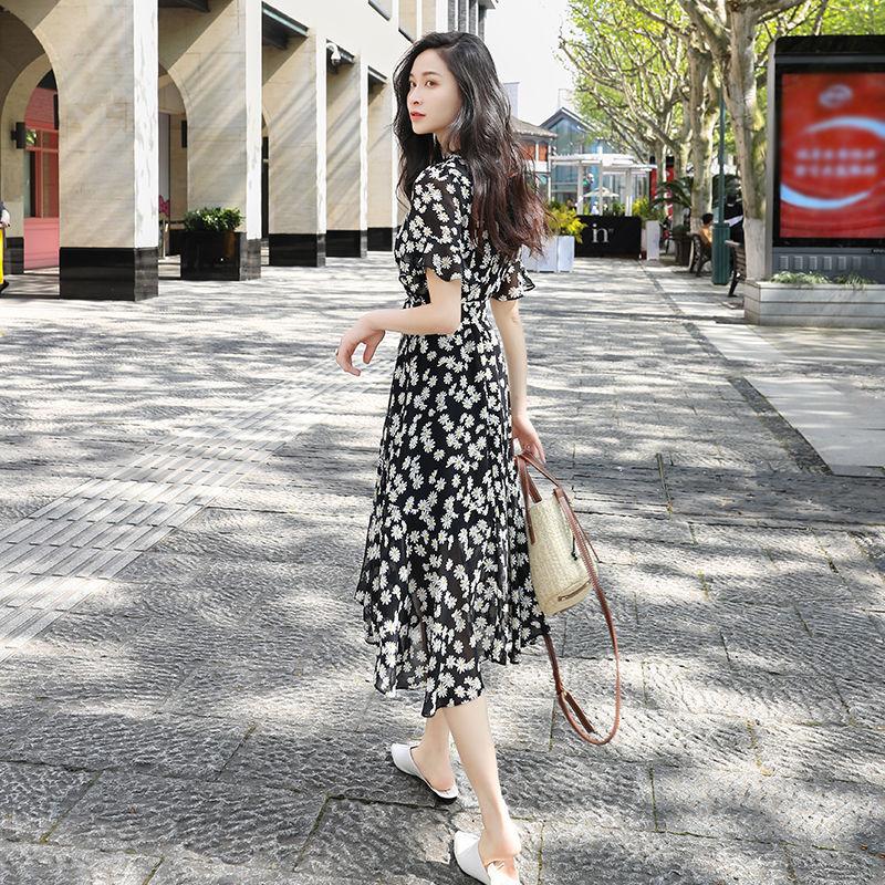 Váy hoa mới 2020 Đầm voan cổ chữ Pháp Đầm Xuân Yafeng in váy siêu cổ tích nữ mùa hè