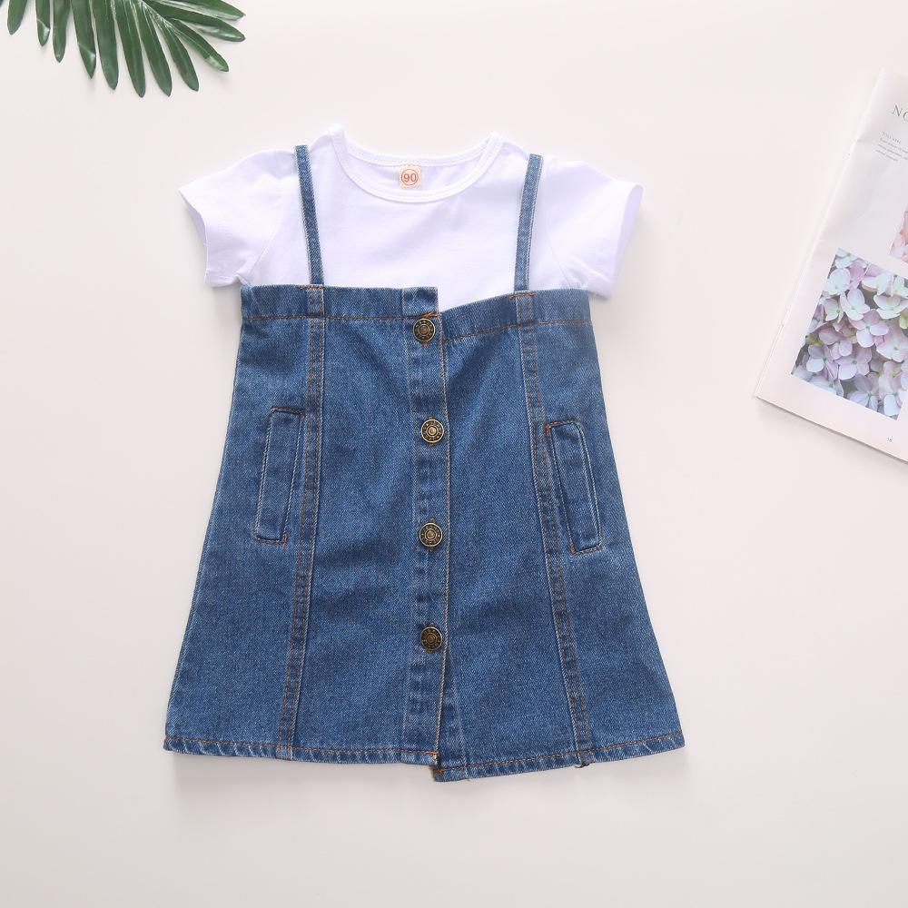 Âu Mỹ Cô gái cotton màu tinh khiết ngắn tay áo thun denim bất thường váy treo quần áo trẻ em châu Âu