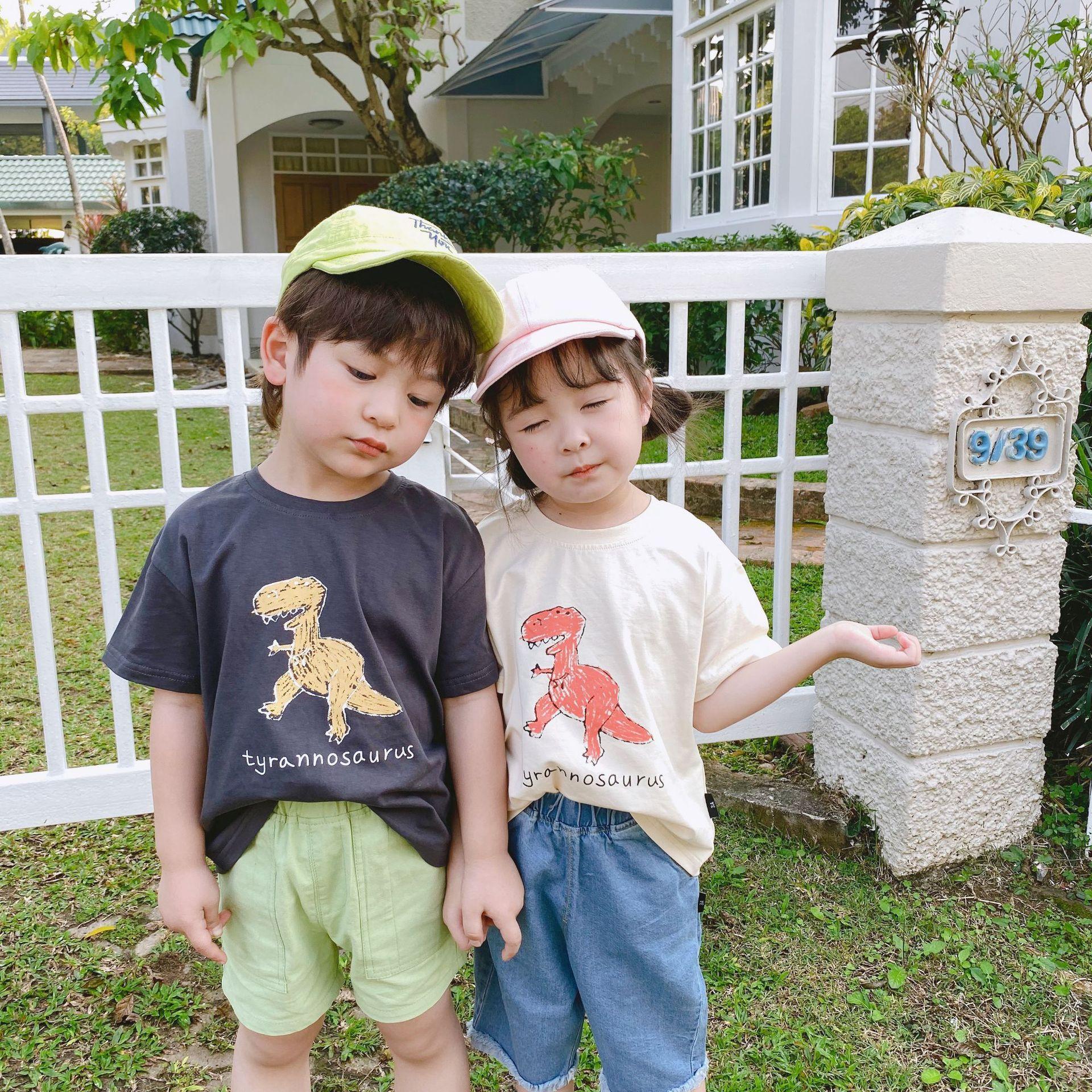 EDGX Phong cách Hàn Quốc Trẻ em Hàn Quốc phim hoạt hình khủng long in áo thun trẻ em in cotton tay á