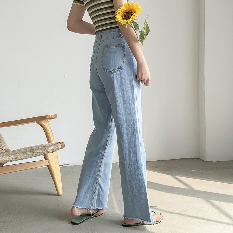 APXIVI Quần jeans ống rộng cạp cao nữ mùa hè 2020 phiên bản mới của Hàn Quốc của quần lửng ống suông