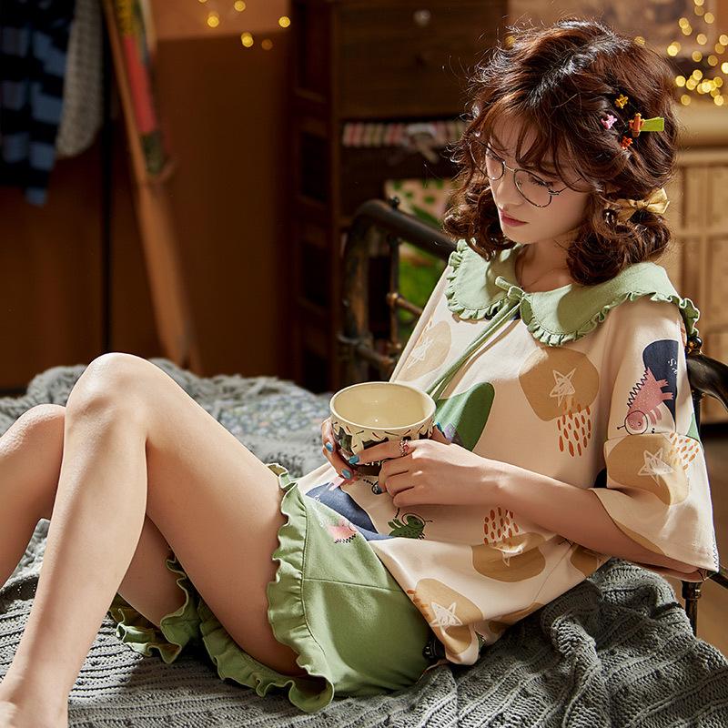 Đồ ngủ Bộ đồ ngủ mùa hè cho nữ quần short ngắn tay cotton phù hợp với áo hai dây Phụ nữ Hàn Quốc có