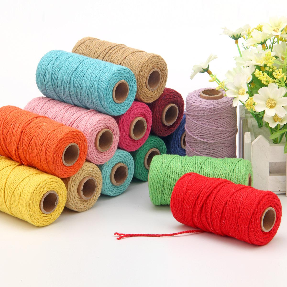 DILI đai , dây , chỉ [Dây cotton 2 mm] 100m sợi bông màu có sẵn từ kho