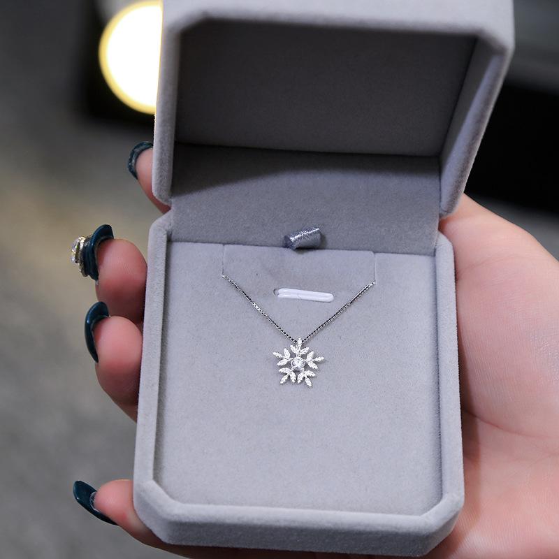 Phụ kiện thời trang S925 sterling bạc trang sức bạc kim cương bông tuyết vòng cổ nữ Nhật Bản và Hàn