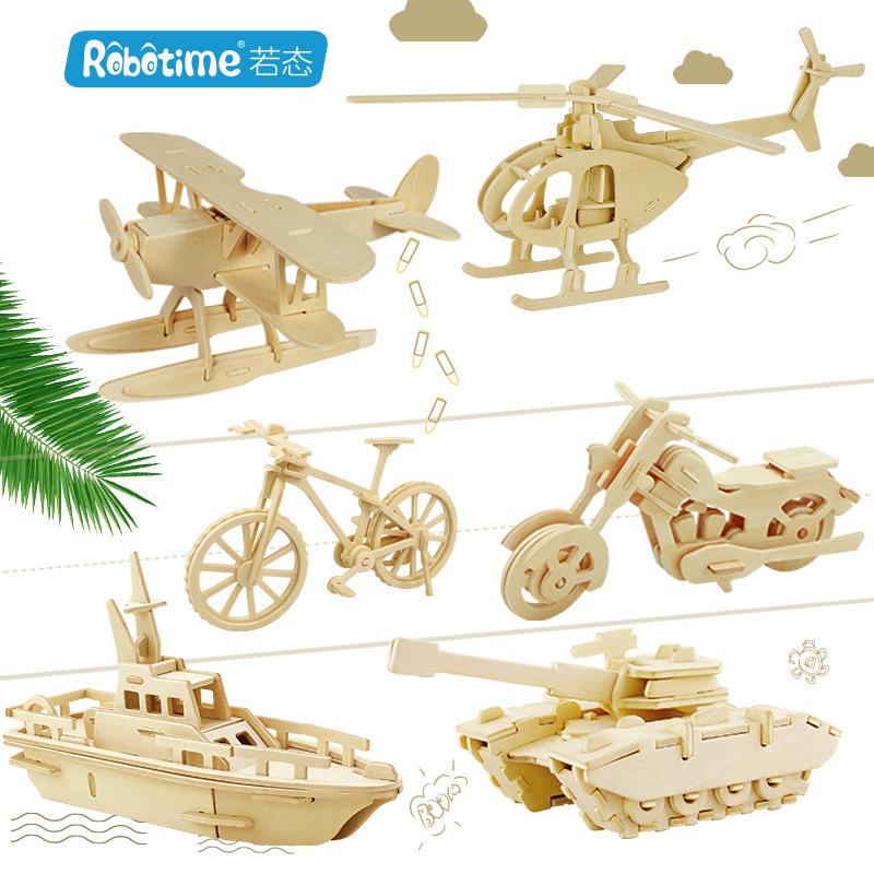 Robotime Tranh xếp hình 3D Nếu bang 3d câu đố ba chiều DIY gỗ câu đố chợ đêm bán hàng nóng bán máy b