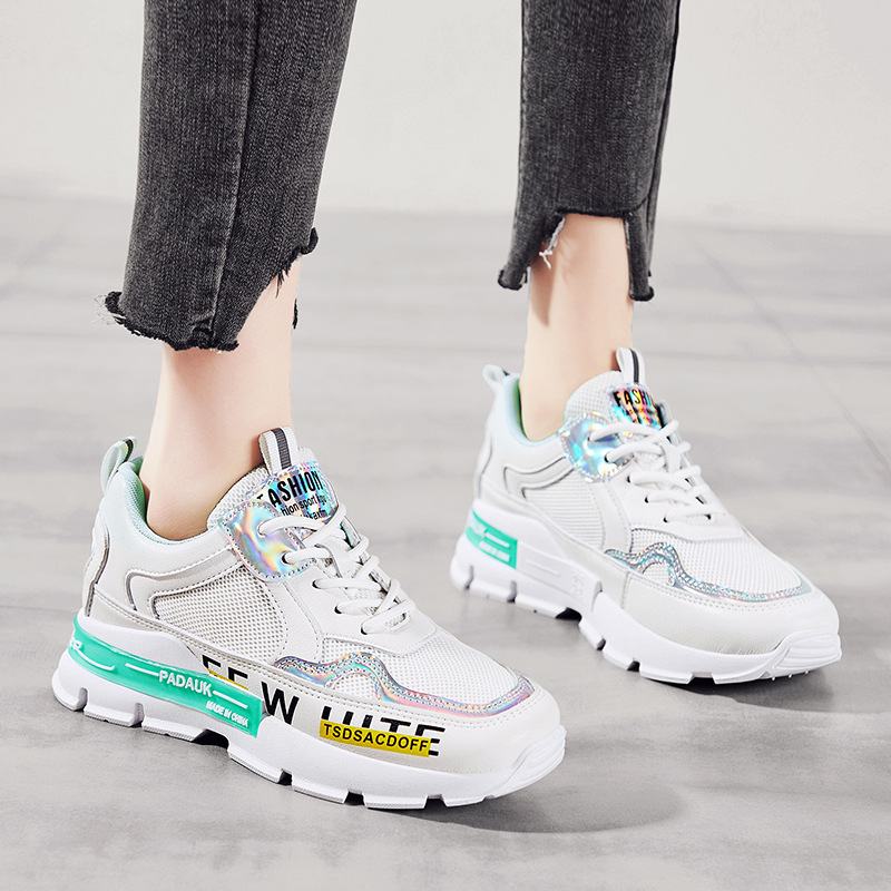 LU-LUXURY giày bánh mì / giày Platform Thư cá tính giày cũ 2020 mùa hè mới lưới thoáng khí giày chạy