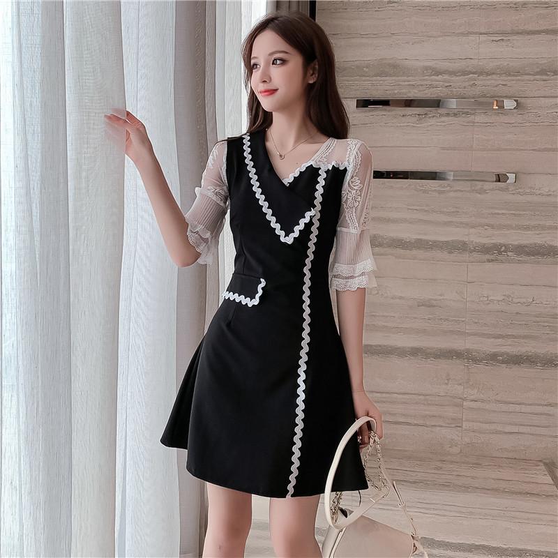 Đầm Phụ nữ mới 2020 làn sóng thời trang Hàn Quốc nhấn nhá màu khâu váy thon gọn nữ tính