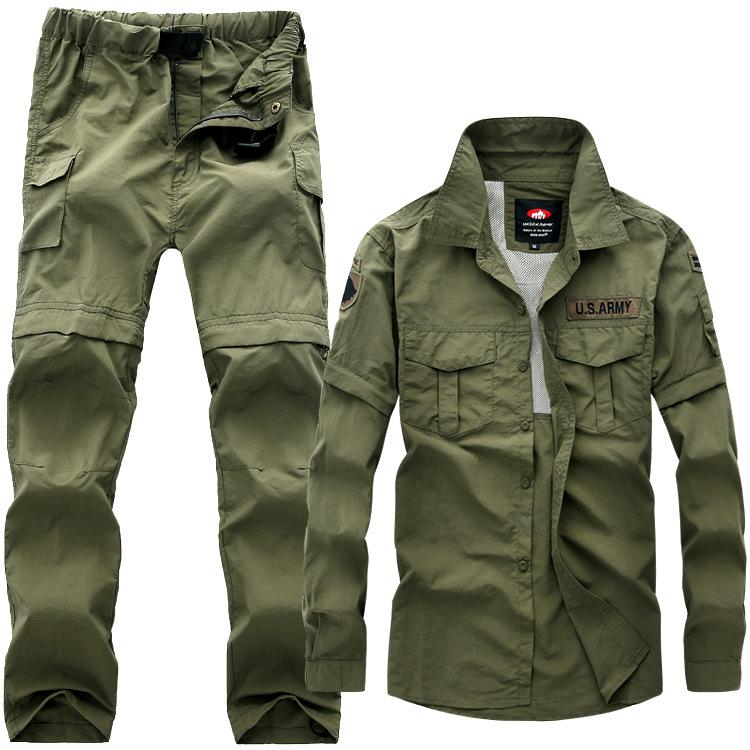 Quần áo mau khô Đồng minh ngụy trang ngoài trời bộ đồ nhanh khô phù hợp với quần áo nam có thể tháo