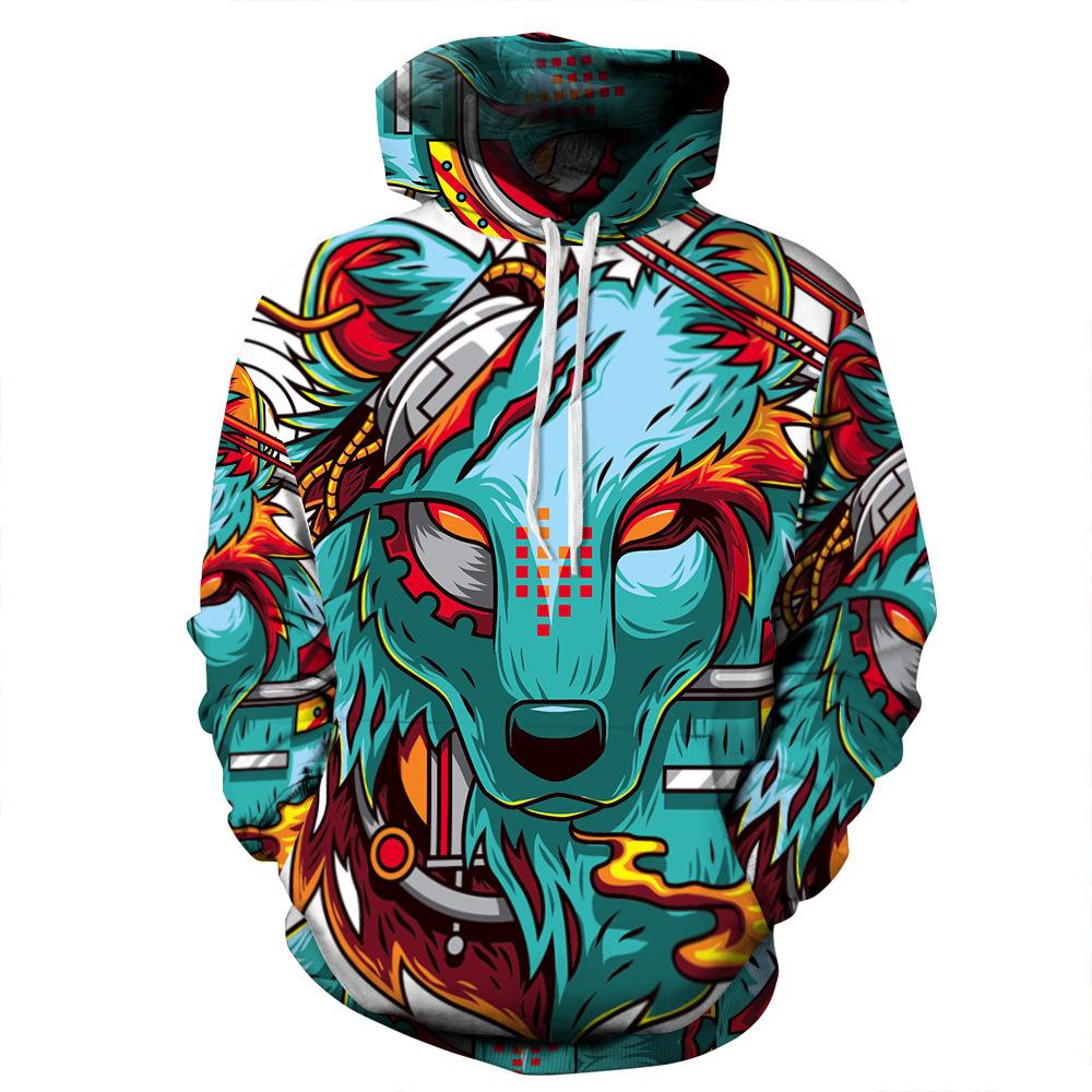 Sweater (Áo nỉ chui đầu) Áo chui đầu kỹ thuật số 3D xuyên biên giới đói sói in nam và nữ áo len trùm
