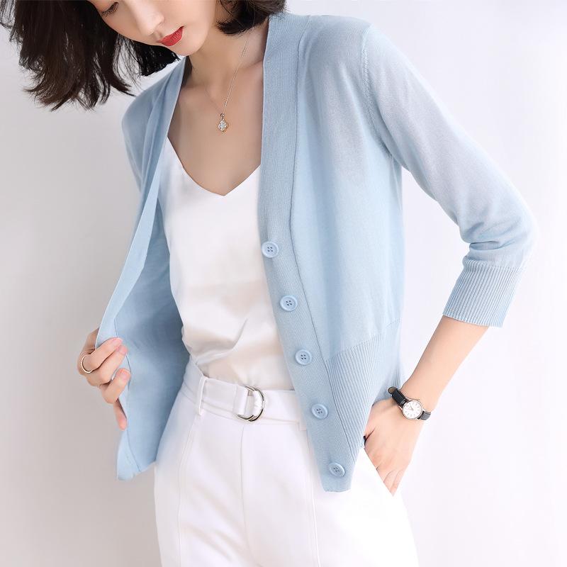 Áo khoác Cardigan Áo len dệt kim mỏng bảy điểm tay áo mùa hè 2020 khăn choàng mới của phụ nữ Áo khoá