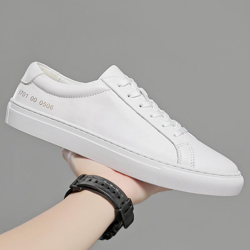 Giày Sneaker / Giày trượt ván Giày ga nam châu Âu lớp da bò nam Giày da nam đế dày giày trắng đế dày