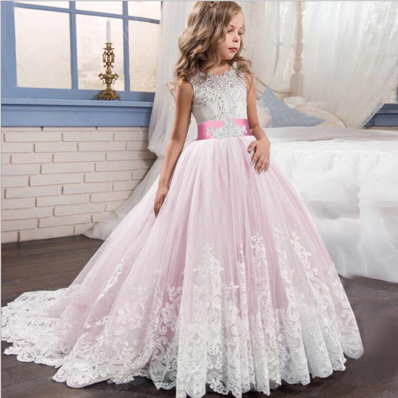 Trang phục dạ hôi trẻ em 2020 Amazon bùng nổ váy trẻ em cô gái mới váy cưới công chúa sưng húp váy r
