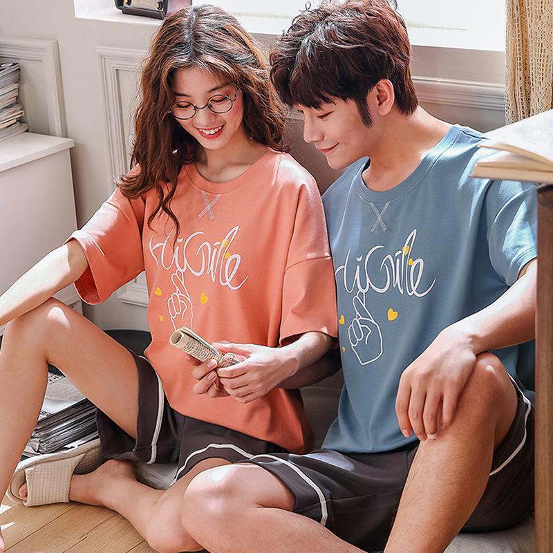 MEISHUFEN Đồ ngủ Bộ đồ ngủ ngắn tay ngắn cho nam và nữ phiên bản Hàn Quốc dễ thương của bộ đồ dịch v