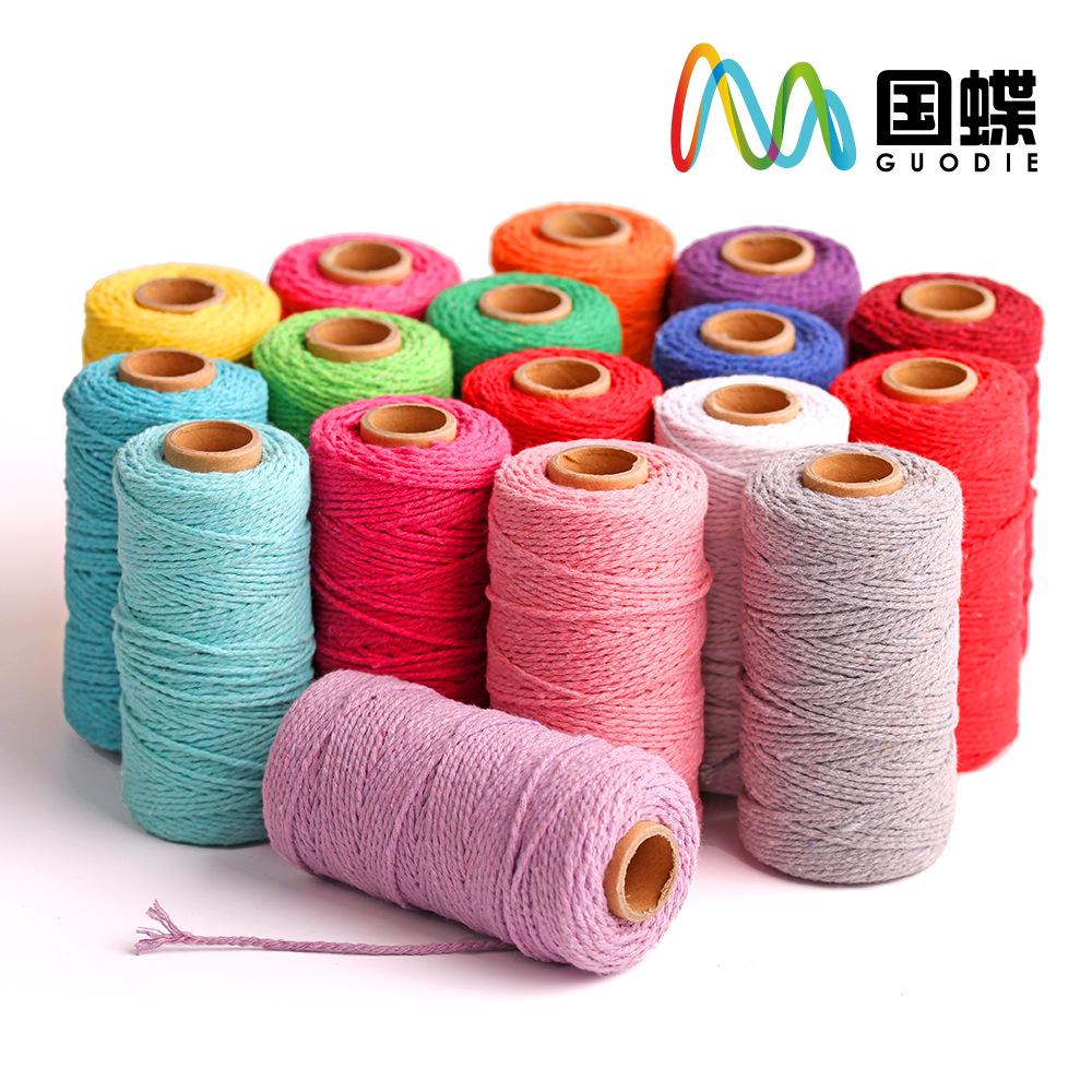DILI đai , dây , chỉ Dây thừng cotton 2 màu】 100 mét gói nhiều loại sợi bông màu, cuộn nhỏ, bao bì t