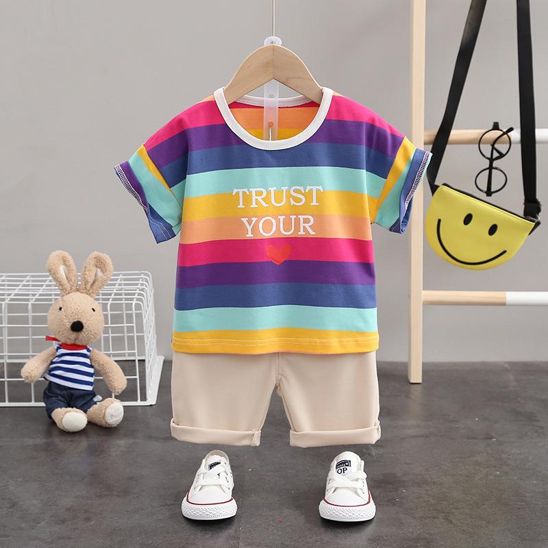 Đồ Suits trẻ em 202 mùa hè quần áo trẻ em mới phù hợp với quần short tay ngắn cánh quần áo trẻ em Áo