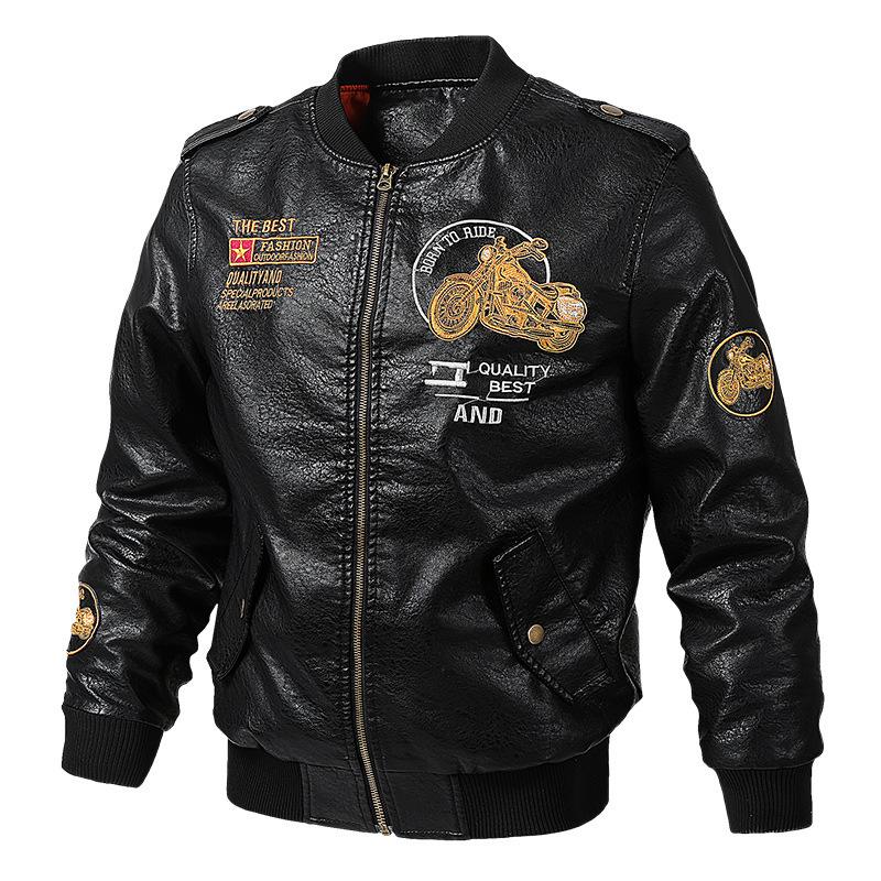 Áo khoác mới xuân hè 2019 áo khoác da PU mỏng manh cho chàng trai trẻ áo khoác da nam