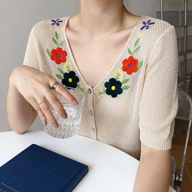 Luxi Áo khoác Cardigan thêu hoa dệt kim ngắn tay cardigan nữ 2020 mới đoạn ngắn V-cổ áo mỏng phần ch