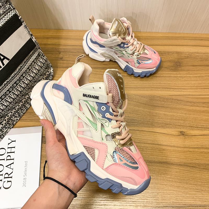 giày bánh mì / giày Platform 2020 Paris mới ba thế hệ giày bố mùa xuân và mùa hè Giày nữ màu đỏ đế g