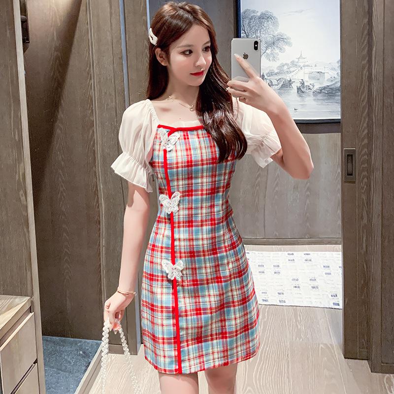 Váy 2020 mùa hè mới khí chất cổ vuông bong bóng tay áo ngắn túi túi hông váy ngắn váy kẻ sọc bướm ph