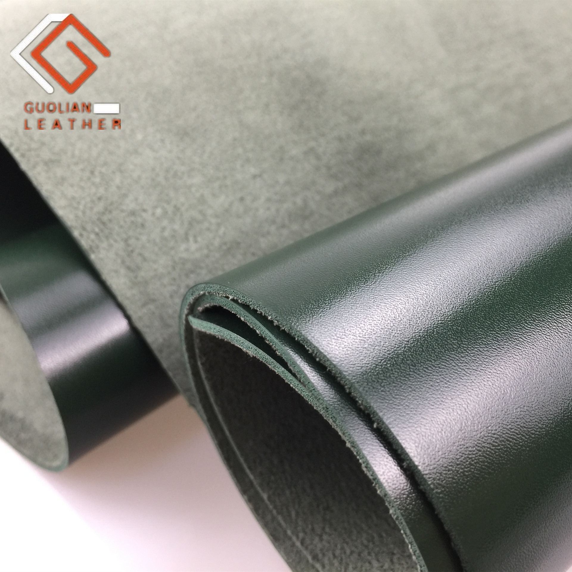 GUOLIAN Vật liệu da Nhà máy trực tiếp một nửa PU da trơn dệt kim mô hình dầu mô phỏng da hiệu ứng mị