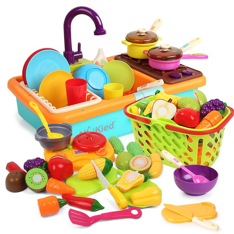 NUKied Đồ chơi luyện trí thông minh Newch máy rửa chén đồ chơi trẻ em phun bếp chơi nhà ổ cắm điện c