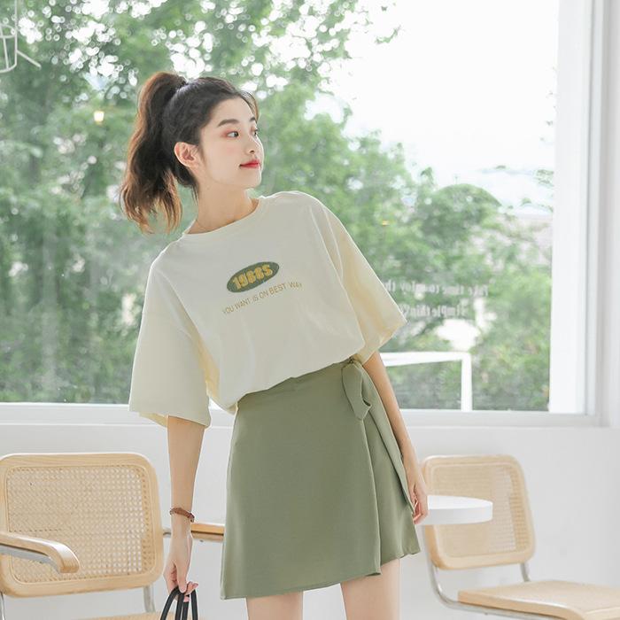 Thời trang Mùa hè 2020 phiên bản mới của phụ nữ Hàn Quốc với áo thun cotton ngắn tay in họa tiết nhỏ