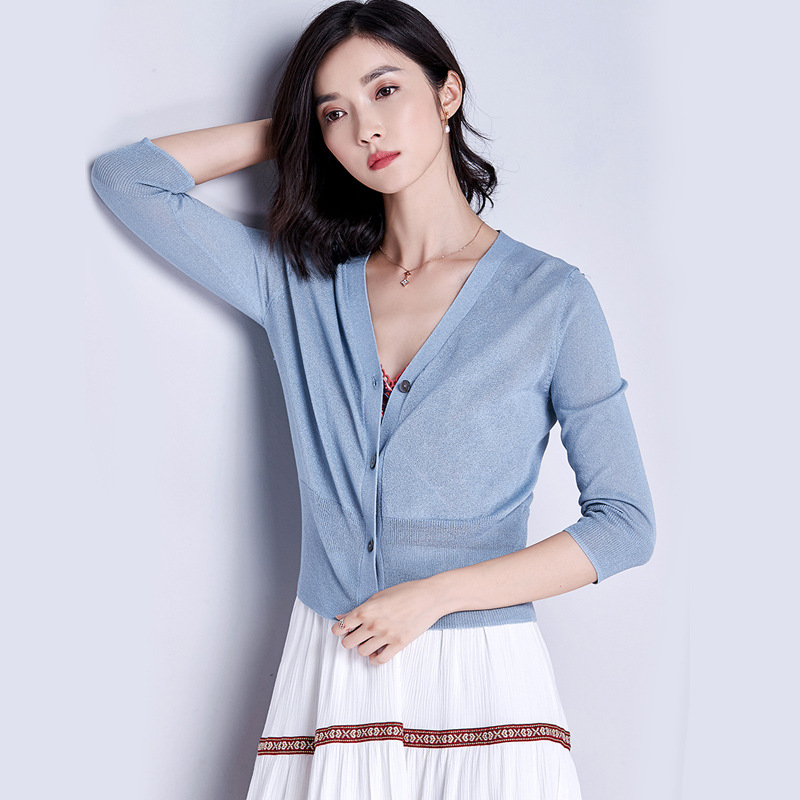 AILIMAN Áo khoác Cardigan Áo len lụa tơ tằm cho nữ mùa hè 2020 áo chống nắng cho phụ nữ áo len ngắn