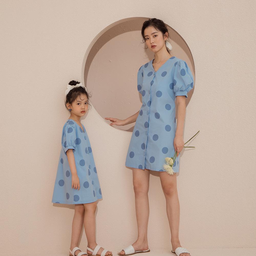Áo thun gia đình Mèo lười mùa hè dành cho người lớn phiên bản mới của Hàn Quốc của chiếc váy cha mẹ