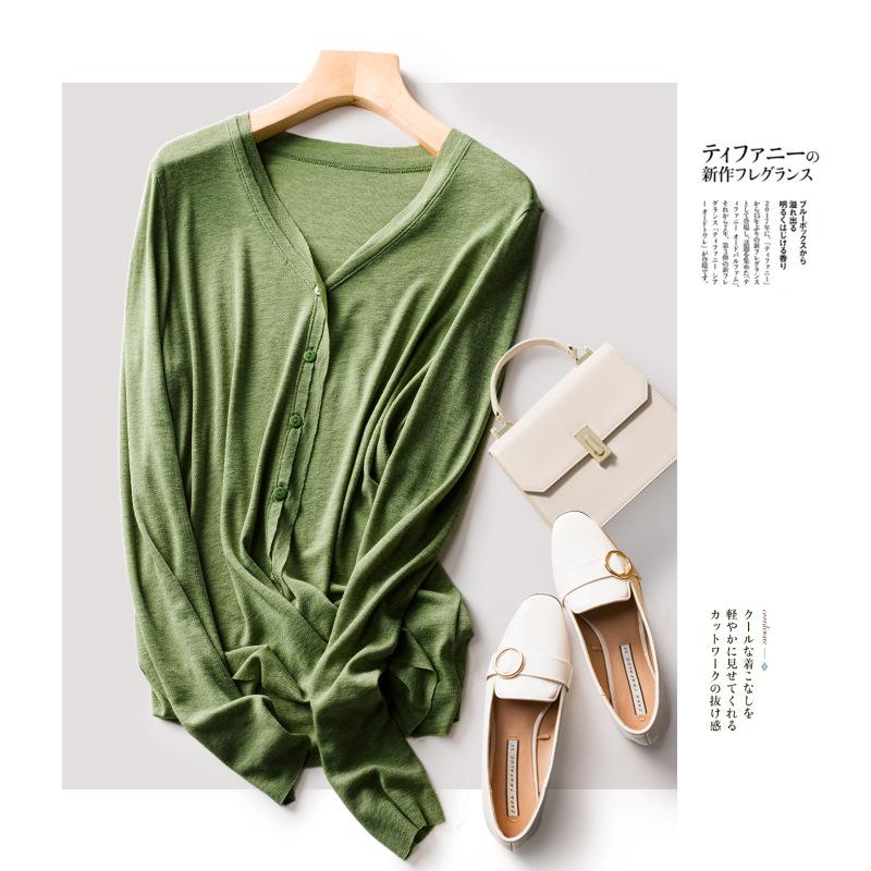 Áo khoác Cardigan Xuân / Hè 2020 áo len dệt kim mỏng mới, phù hợp với làn da mềm mại, lyocell lụa ha