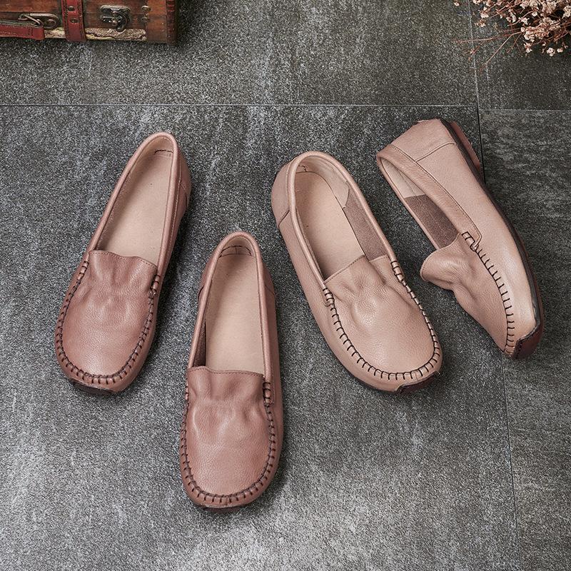 Bodiess Giày mọi Gommino Giày nữ 2020 mùa xuân và mùa hè mới đầu tròn đế bằng da đế ngoài đế bằng gi