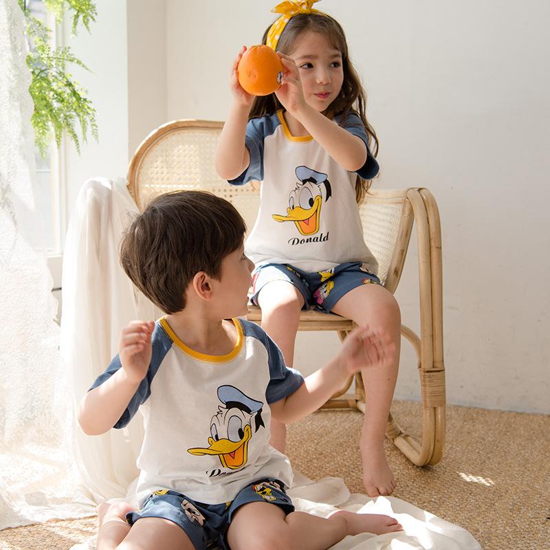 HAMIAOWU Đồ ngủ trẻ em cotton mùa hè bé trai và bé gái quần áo điều hòa cotton mỏng phim hoạt hình q