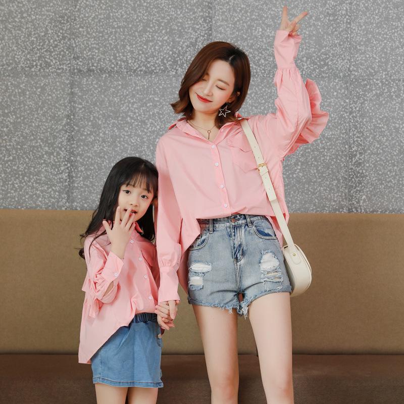KLFE Áo thun gia đình Mùa xuân 2019 mới mẹ và phụ nữ thời trang Hàn Quốc sóng hoa sen áo bé gái
